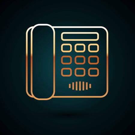 Gold line Telephone icon isolated on dark blue background. Landline phone. Vector Illustration