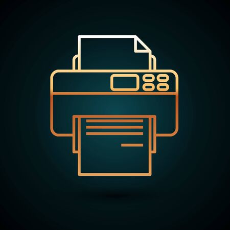 Gold line Printer icon isolated on dark blue background. Vector Illustration