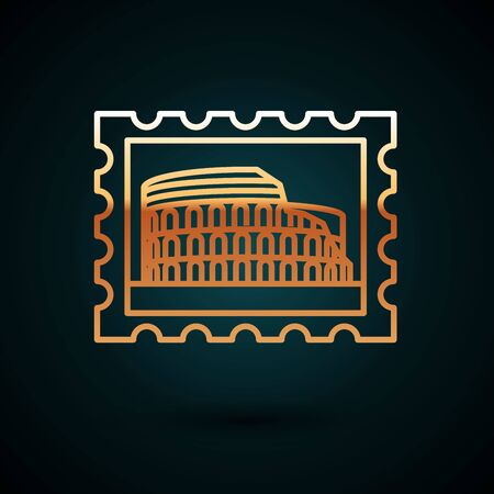 Gold line Postal stamp and Coliseum icon isolated on dark blue background. Colosseum sign. Symbol of Ancient Rome, gladiator fights. Vector Illustration