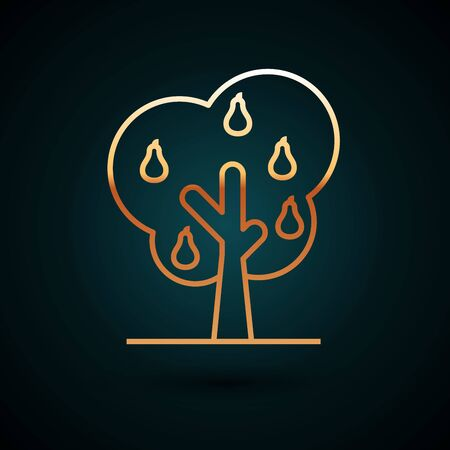Gold line Tree with pears icon isolated on dark blue background. Agricultural plant. Organic farm product. Gardening theme. Vector Illustration
