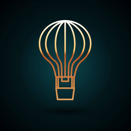 Gold line Hot air balloon icon isolated on dark blue background. Air transport for travel. Vector Illustration Illusztráció