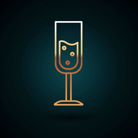 Gold line Glass of champagne icon isolated on dark blue background. Vector Illustration