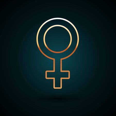 Gold line Female gender symbol icon isolated on dark blue background. Venus symbol. The symbol for a female organism or woman. Vector Illustration