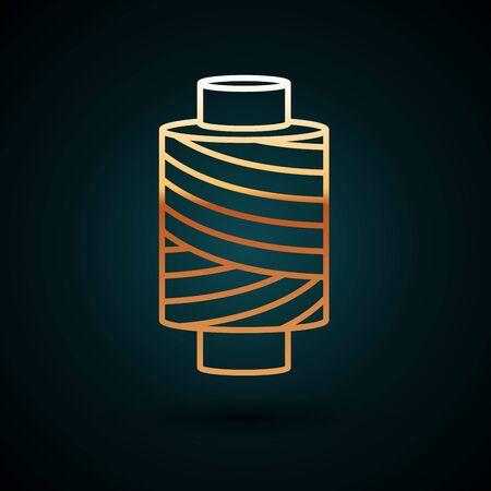 Goldlinie Nähgarn auf Spool-Symbol auf dunkelblauem Hintergrund isoliert. Garnspule. Spule einfädeln. Vektorillustration