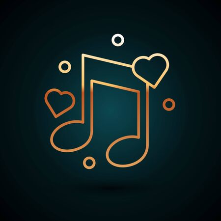 Gold line Music note, tone with hearts icon isolated on dark blue background. Vector Illustration