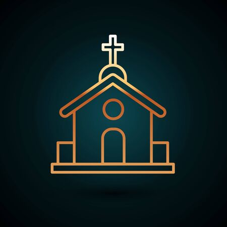 Gold line Church building icon isolated on dark blue background. Christian Church. Religion of church. Vector Illustration