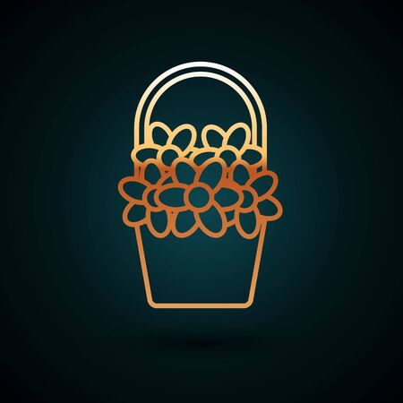 Gold line Flowers in a basket icon isolated on dark blue background. Vector Illustration Illustration