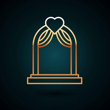 Gold line Wedding arch icon isolated on dark blue background. Wedding decoration. Vector Illustration