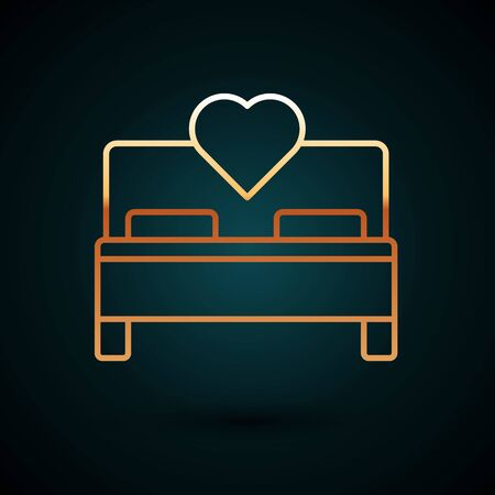 Gold line Bedroom icon isolated on dark blue background. Wedding, love, marriage symbol. Bedroom creative icon from honeymoon collection. Vector Illustration Archivio Fotografico - 133040465