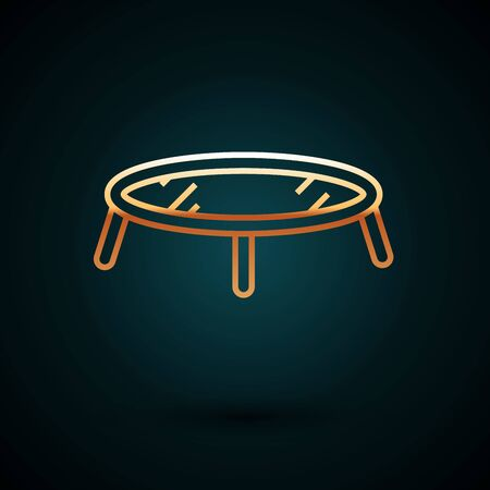 Gold line Jumping trampoline icon isolated on dark blue background. Vector Illustration