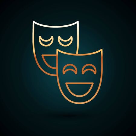 Gold line Comedy theatrical masks icon isolated on dark blue background. Vector Illustration
