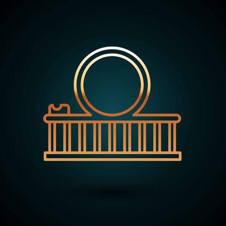 Gold line Roller coaster icon isolated on dark blue background. Amusement park. Childrens entertainment playground, recreation park. Vector Illustration Illustration