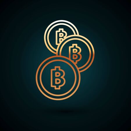 Gold line Cryptocurrency coin Bitcoin icon isolated on dark blue background. Physical bit coin. Blockchain based secure crypto currency. Vector Illustration