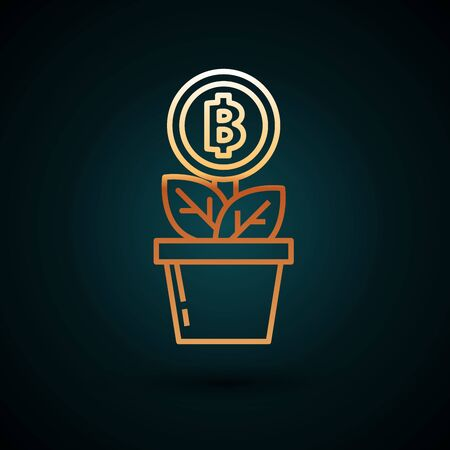 Gold line Bitcoin plant in the pot icon isolated on dark blue background. Business investment growth. Blockchain technology, cryptocurrency mining. Vector Illustration