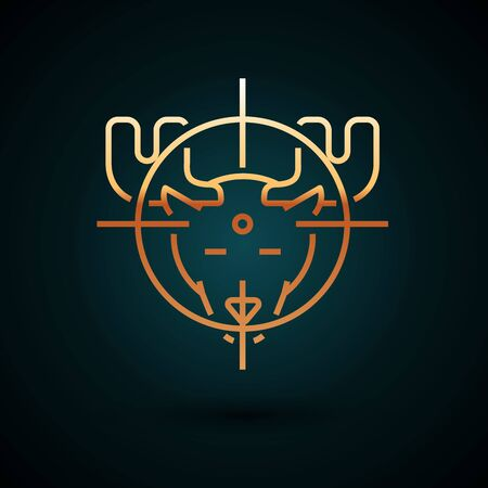 Gold line Hunt on moose with crosshairs icon isolated on dark blue background.