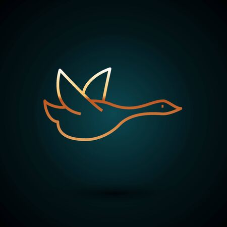 Gold line Flying duck icon isolated on dark blue background. Vector Illustration
