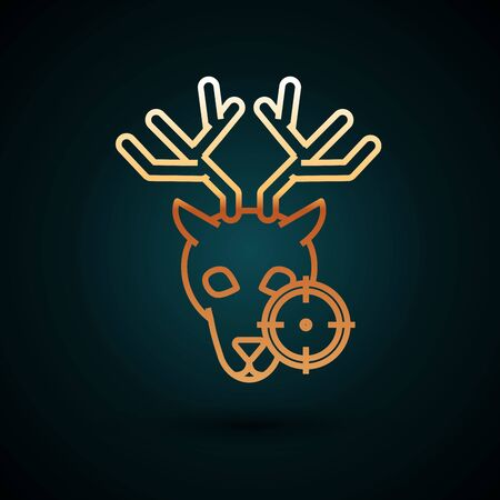 Gold line Hunt on deer with crosshairs icon isolated on dark blue background. Hunting club icon with deer and target. Rifle lens aiming a deer. Vector Illustration