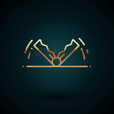Gold line Trap hunting icon isolated on dark blue background. Vector Illustration  イラスト・ベクター素材