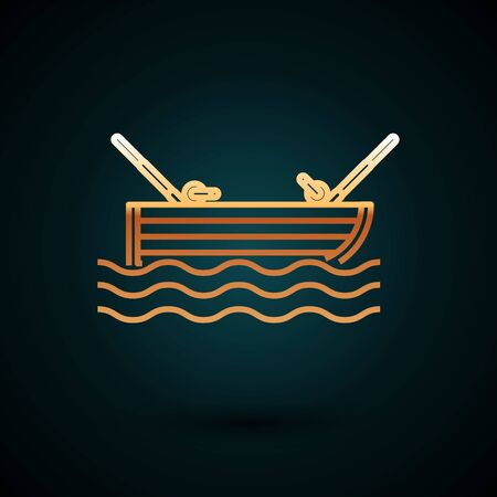 Gold line Fishing boat with fishing rod on water icon isolated on dark blue background. Vector Illustration