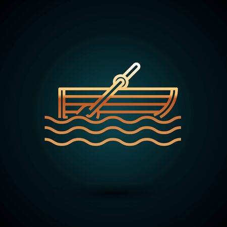 Gold line Fishing boat with oars on water icon isolated on dark blue background. Vector Illustration  イラスト・ベクター素材