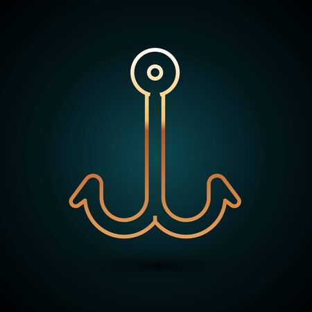 Gold line Fishing hook icon isolated on dark blue background. Fishing tackle. Vector Illustration Vektorové ilustrace