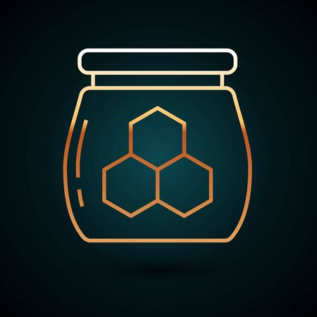 Gold line Jar of honey icon isolated on dark blue background. Food bank. Sweet natural food symbol. Vector Illustration
