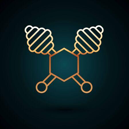 Gold line Honey dipper stick icon isolated on dark blue background. Honey ladle. Vector Illustration