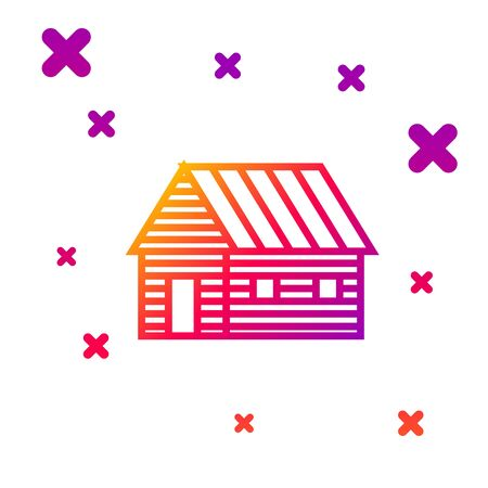 Color line Farm house icon isolated on white background. Gradient random dynamic shapes. Vector Illustration Standard-Bild - 133060040