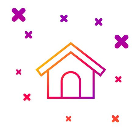 Color line Dog house icon isolated on white background. Dog kennel. Gradient random dynamic shapes. Vector Illustration Illustration