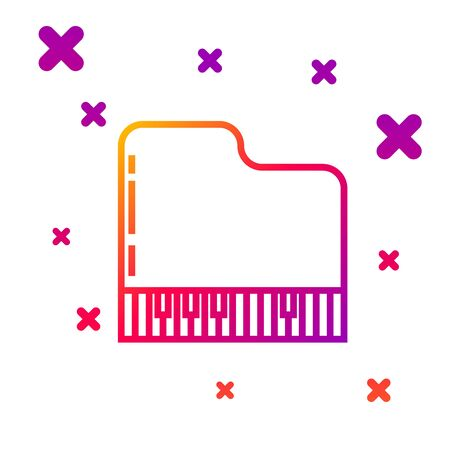 Color line Grand piano icon isolated on white background. Musical instrument. Gradient random dynamic shapes. Vector Illustration