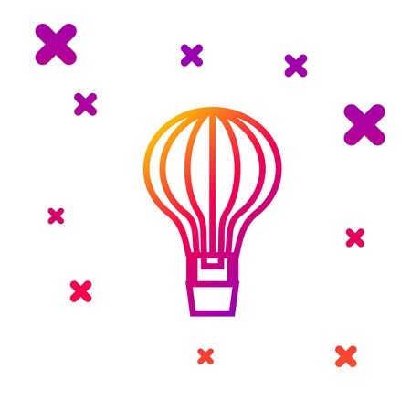 Color line Hot air balloon icon isolated on white background. Air transport for travel. Gradient random dynamic shapes. Vector Illustration