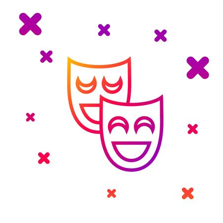 Color line Comedy theatrical masks icon isolated on white background. Gradient random dynamic shapes. Vector Illustration