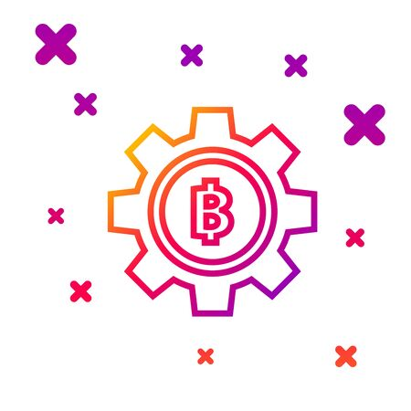 Color line Cryptocurrency coin Bitcoin icon isolated on white background. Gear and Bitcoin setting. Blockchain based secure crypto currency. Gradient random dynamic shapes. Vector Illustration Vector Illustration