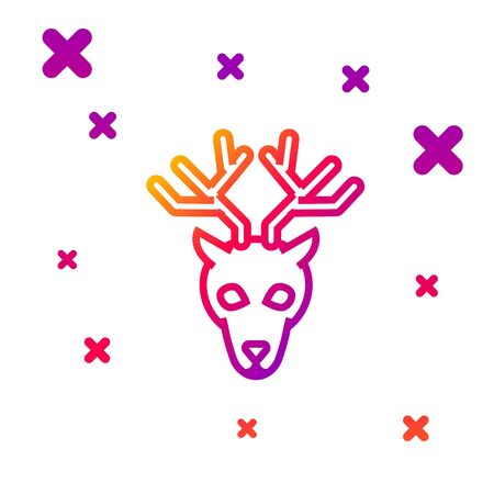 Color line Deer head with antlers icon isolated on white background. Gradient random dynamic shapes. Vector Illustration