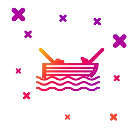 Color line Fishing boat with fishing rod on water icon isolated on white background. Gradient random dynamic shapes. Vector Illustration  イラスト・ベクター素材