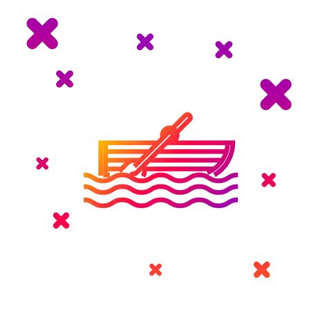 Color line Fishing boat with oars on water icon isolated on white background. Gradient random dynamic shapes. Vector Illustration  イラスト・ベクター素材
