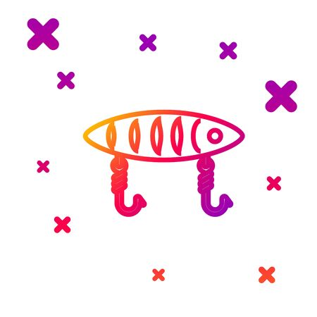 Color line Fishing lure icon isolated on white background. Fishing tackle. Gradient random dynamic shapes. Vector Illustration