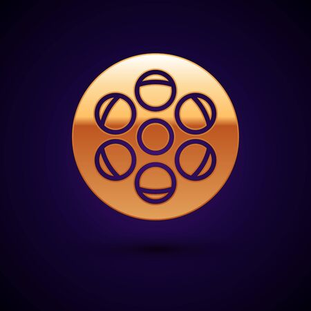 Gold Film reel icon isolated on dark blue background. Vector Illustration