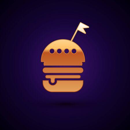 Gold Burger icon isolated on dark blue background. Hamburger icon. Cheeseburger sandwich sign. Fast food menu. Vector Illustration Archivio Fotografico - 133093868