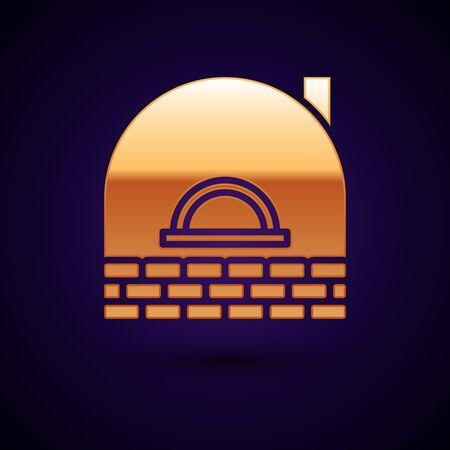 Gold Brick stove icon isolated on dark blue background. Brick fireplace, masonry stove, stone oven icon. Vector Illustration