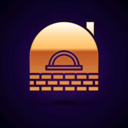 Gold Brick stove icon isolated on dark blue background. Brick fireplace, masonry stove, stone oven icon. Vector Illustration