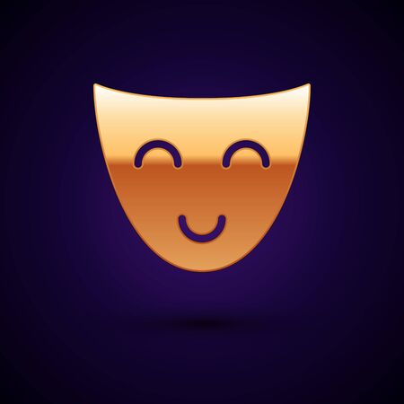 Gold Comedy theatrical mask icon isolated on dark blue background. Vector Illustration
