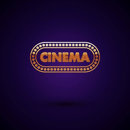 Gold Cinema poster design template icon isolated on dark blue background. Movie time concept banner design. Vector Illustration