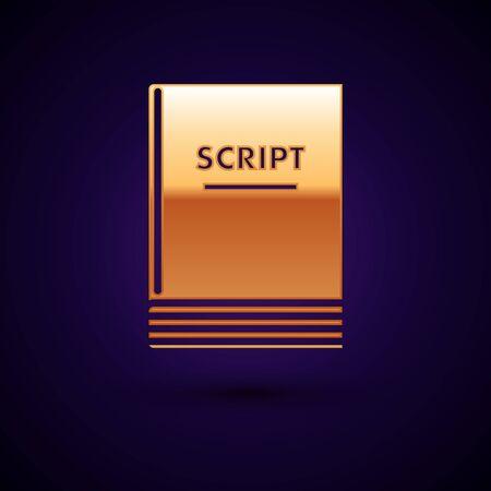 Gold Scenario icon isolated on dark blue background. Script reading concept for art project, films, theaters. Vector Illustration Иллюстрация