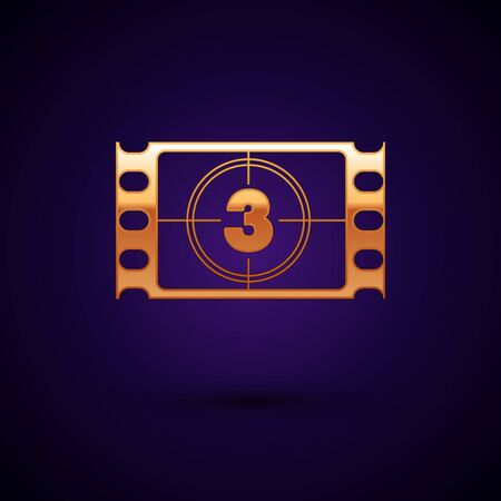 Gold Play Video icon isolated on dark blue background. Film strip with start sign. Vector Illustration