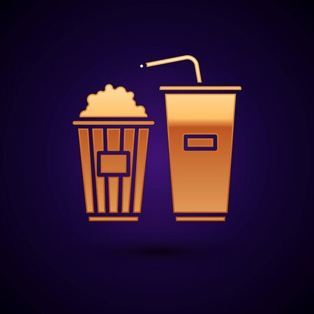 Gold Popcorn in cardboard box and paper glass with drinking straw and water icon isolated on dark blue background. Soda drink glass. Vector Illustration