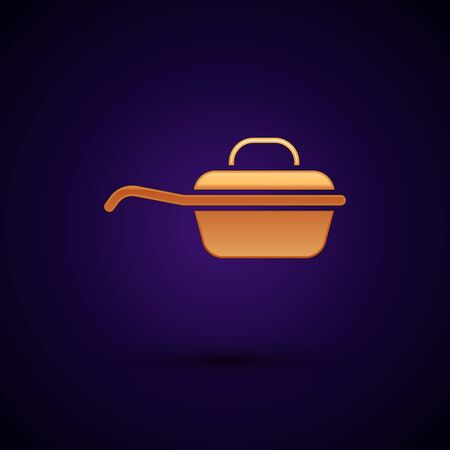 Gold Frying pan icon isolated on dark blue background. Fry or roast food symbol. Vector Illustration 向量圖像