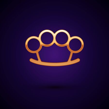 Gold Brass knuckles icon isolated on dark blue background. Vector Illustration