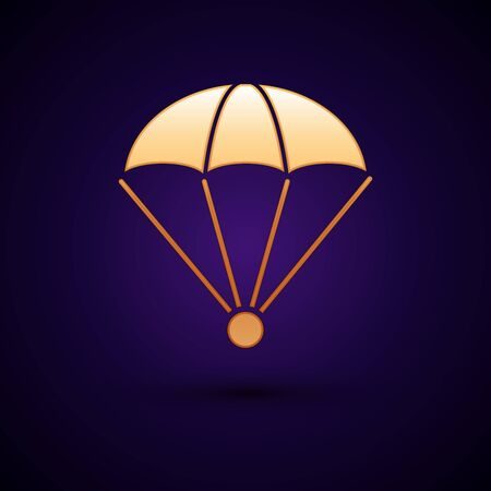 Gold Parachute icon isolated on dark blue background. Vector Illustration Ilustrace