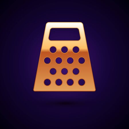 Gold Grater icon isolated on dark blue background. Kitchen symbol. Cooking utensil. Cutlery sign. Vector Illustration